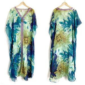 Soft Surroundings Sheer Maxi Swimsuit Cover Up M